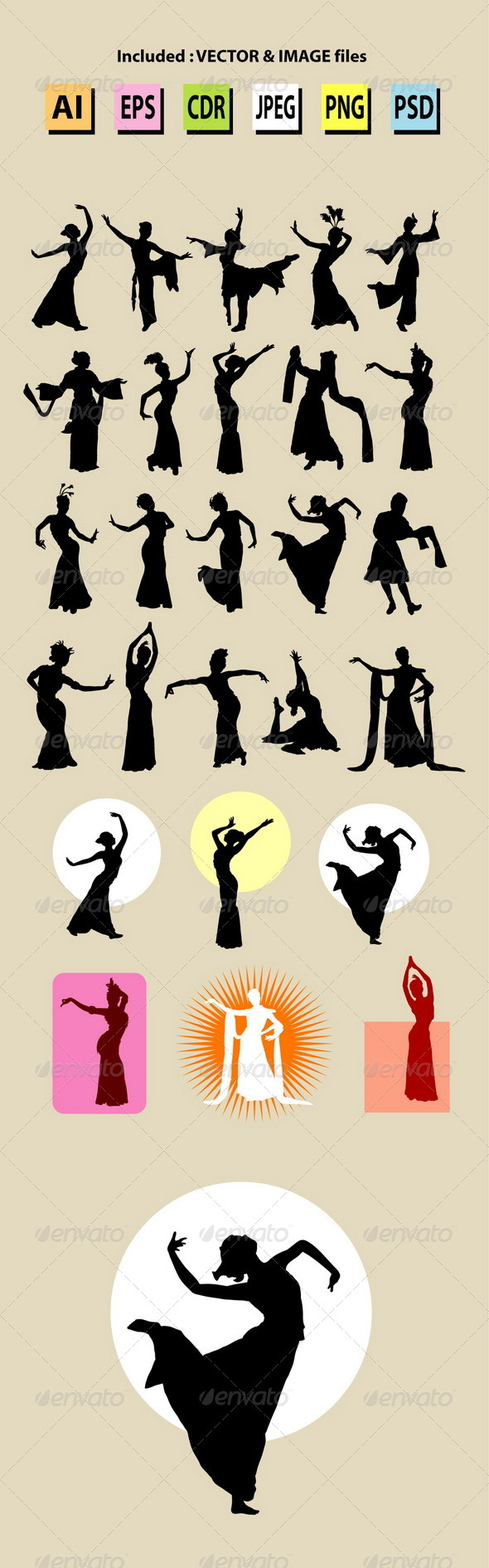 Female Chinese Dance Silhouettes - People Characters