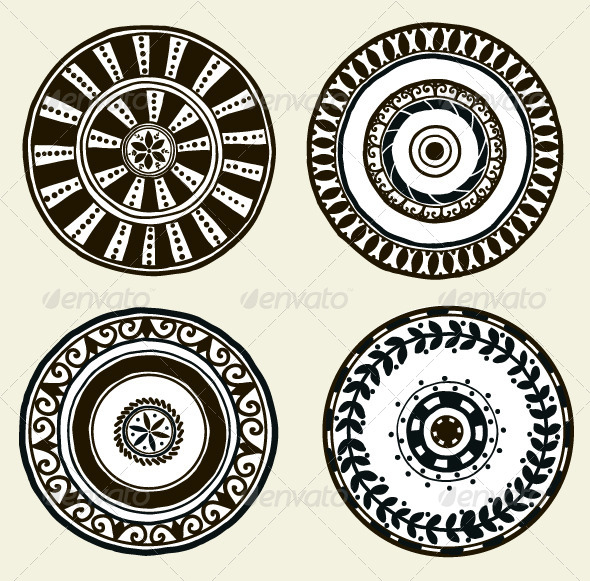 Set of Ethnic Doodle Dishes - Man-made Objects Objects