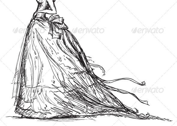 Vector Bridal Dress Drawing - Weddings Seasons/Holidays
