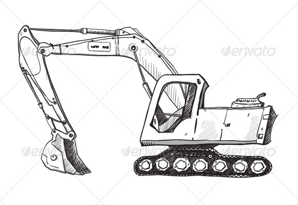Drawing Lines In Keynote : Doodle excavator drawing by kamenuka graphicriver