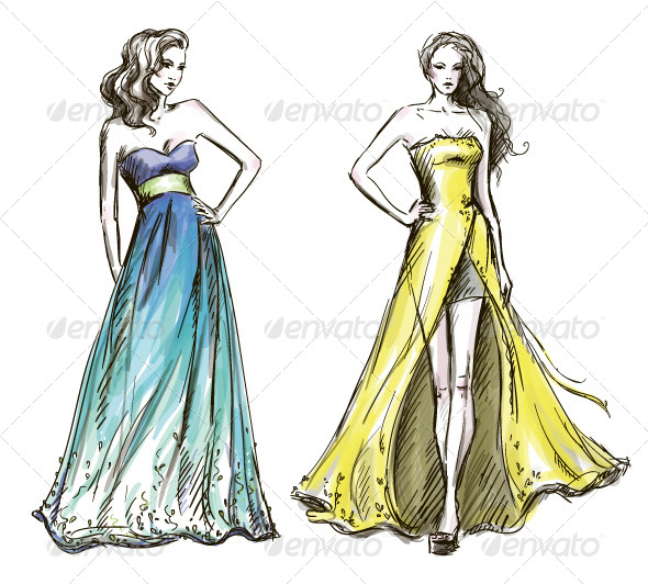 Fashion Illustration. Long Dress. Catwalk. - People Characters