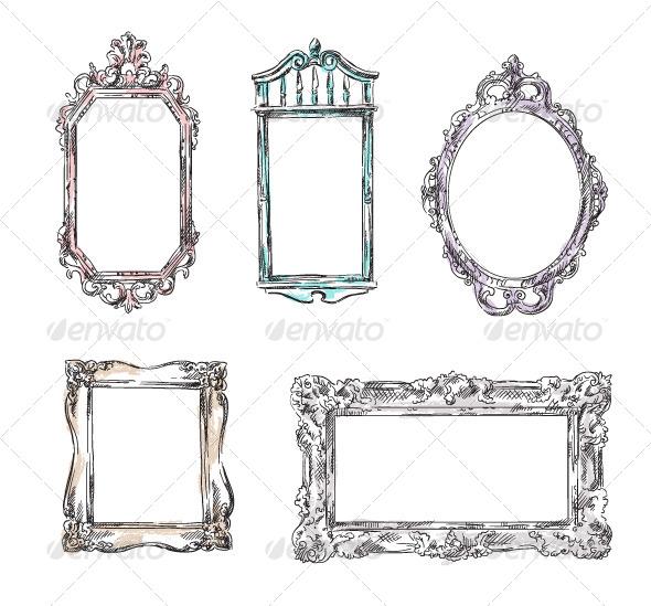 Set of Retro Frames - Decorative Vectors
