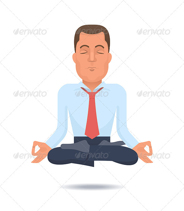 Businessman in a Lotus Position - People Characters