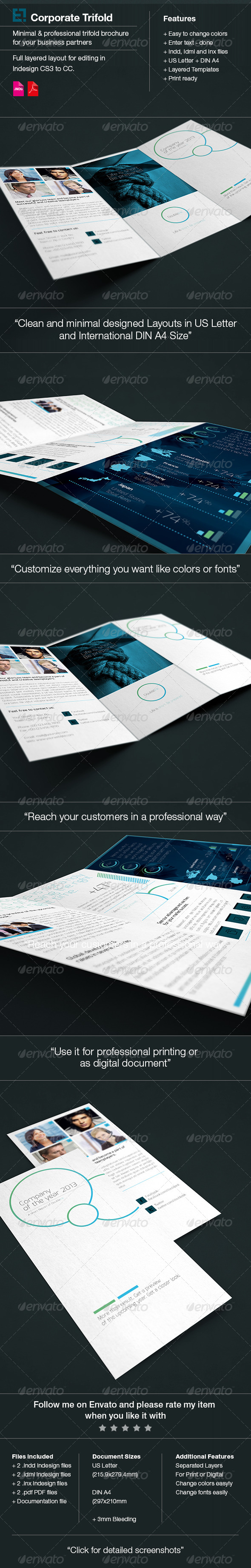 Trifold Brochure DoubleInk White - Corporate Brochures