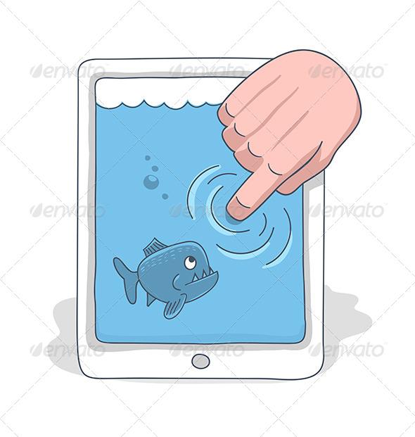 Danger Hiding In A Touchpad Concept - Conceptual Vectors