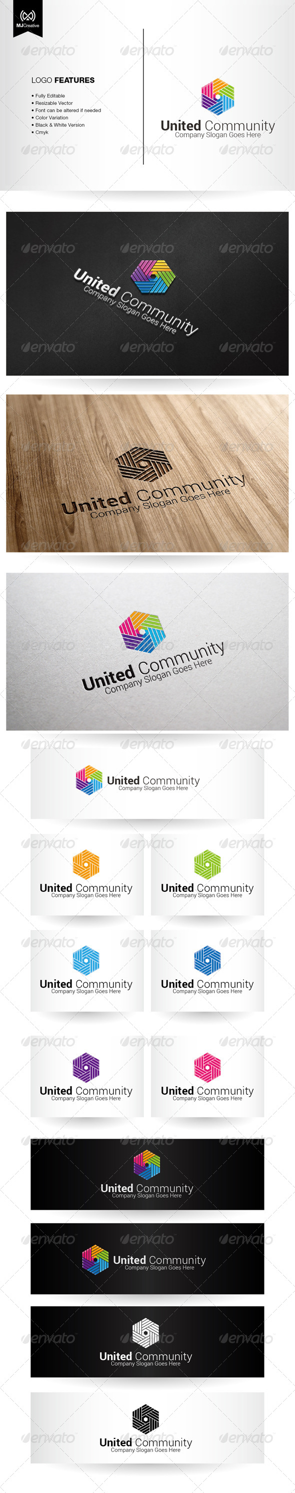 Colorful Hands and Unity Logo - Vector Abstract