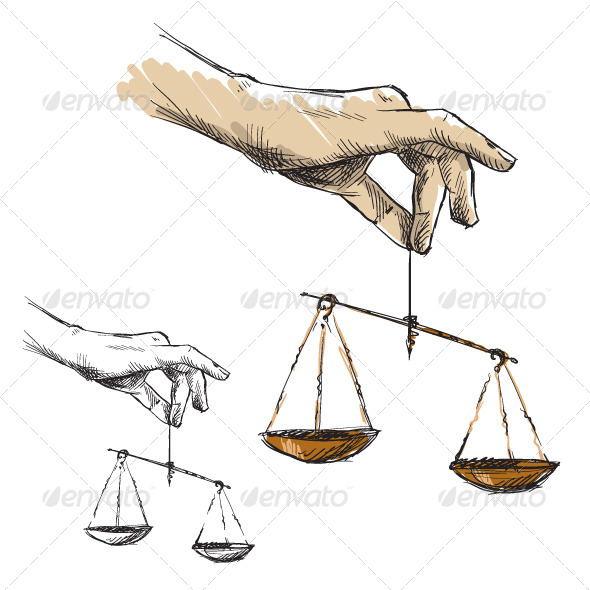 Hands Holding Scales - Business Conceptual