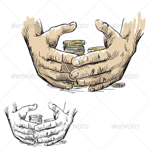 Hands Hiding Piles of Coins - Business Conceptual