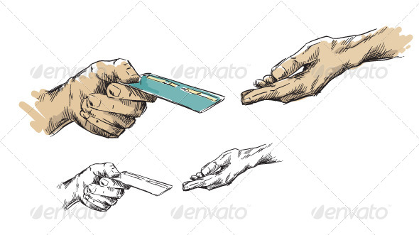 Hands Passing Ccredit Card - Business Conceptual