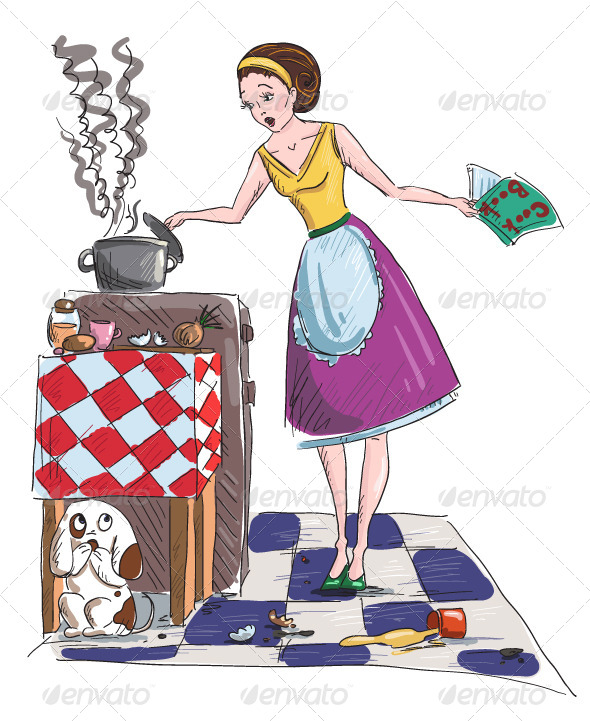 Housewife Vector Illustration - People Characters