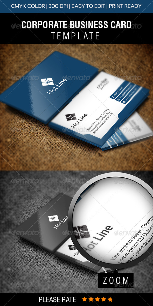 Hot Line Business Card - Corporate Business Cards