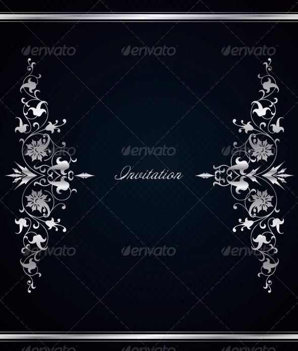 Vintage Floral Frame on Vector Blue Background - Decorative Symbols Decorative