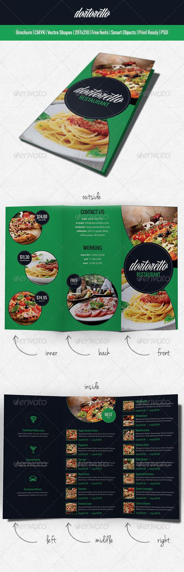 Dortoretto Brochure restaurant - Informational Brochures