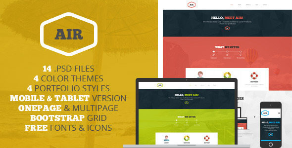 AIR - OnePage & Multipage PSD template