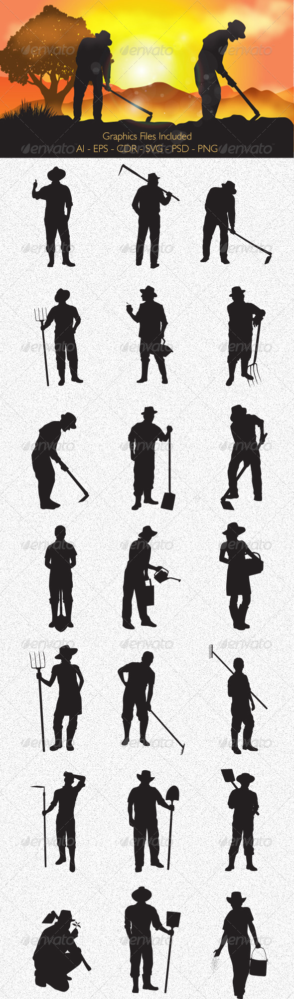 Farmer Silhouettes - People Characters