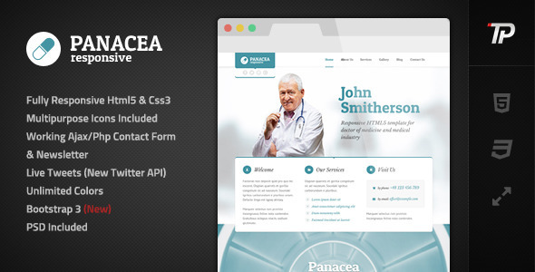 Panacea Responsive Parallax Site Template - Personal Site Templates