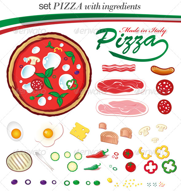Italian Pizza with Ingredients - Food Objects