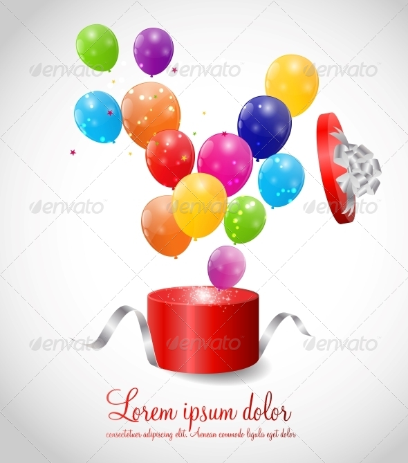 Color Glossy Balloons in Gift Box Background - Birthdays Seasons/Holidays