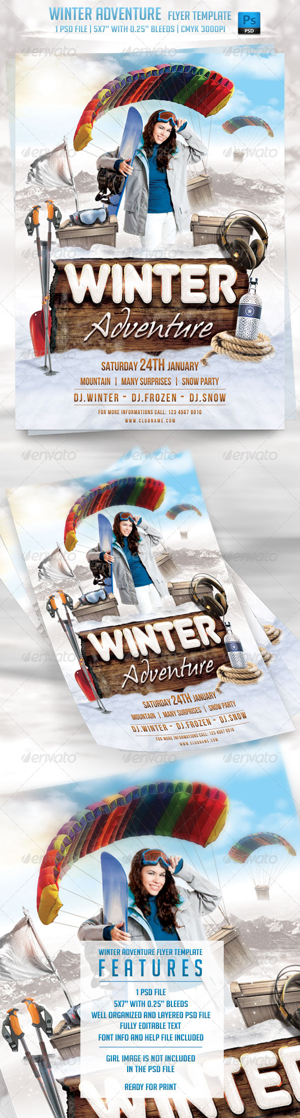 Winter Adventure Flyer Template - Events Flyers