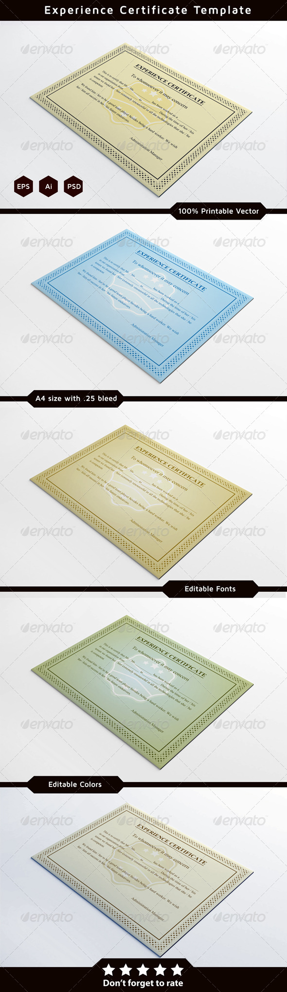 Experience Certificates - Certificates Stationery