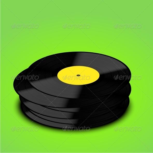 Old Vinyl Record Background - Decorative Symbols Decorative