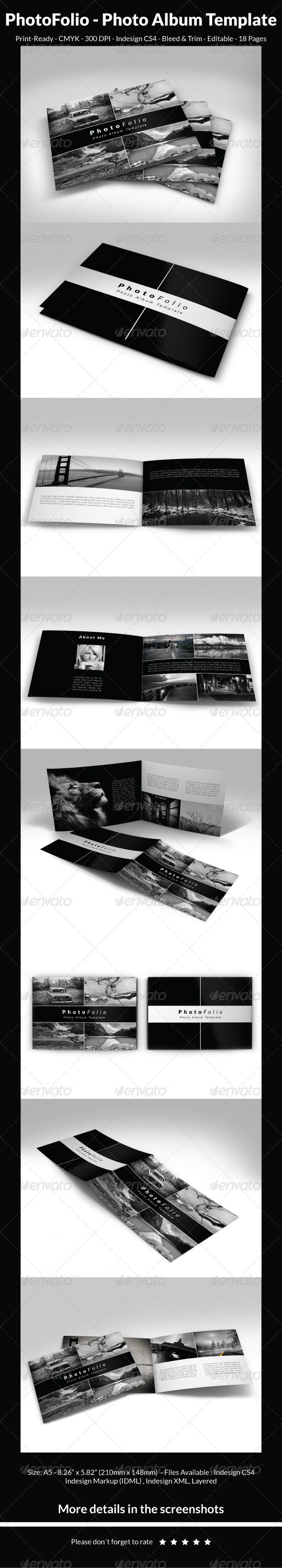 PhotoFolio - Photo Album Template - Photo Albums Print Templates