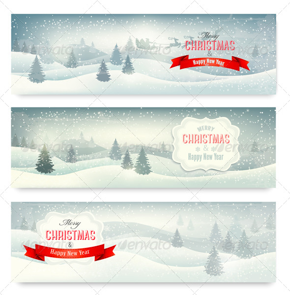 Three Christmas Landscape Banners - Christmas Seasons/Holidays