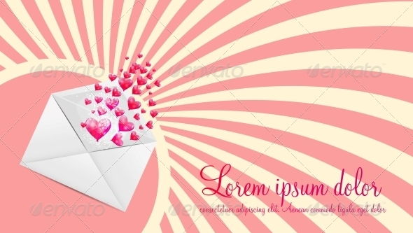Valentines Day Card with Heart Shaped Balloons - Valentines Seasons/Holidays