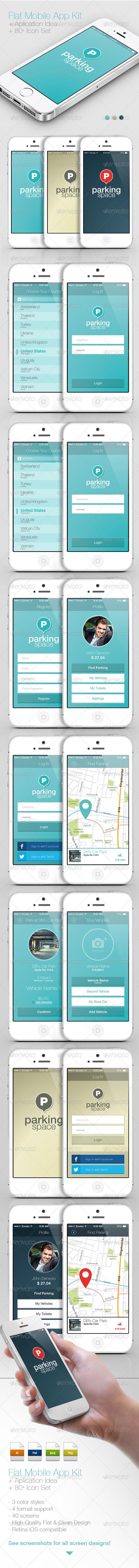 Flat Mobile App Kit / App Idea / Icon Set - User Interfaces Web Elements