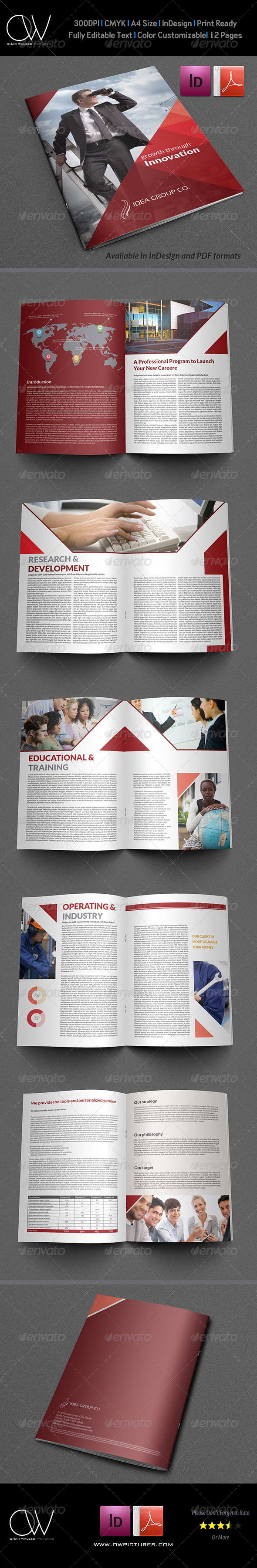 Company Brochure Template Vol Pages By OWPictures - Brochure template for pages