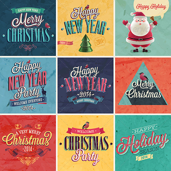 Christmas Set of Emblems and Labels - Christmas Seasons/Holidays
