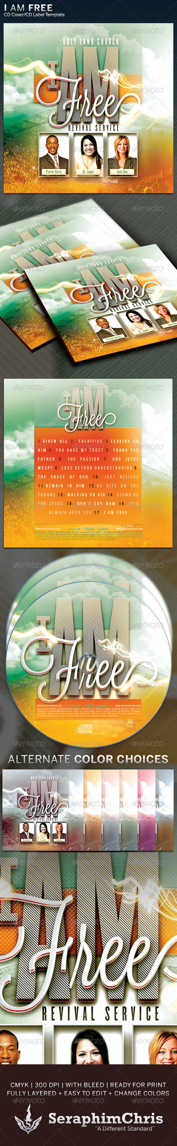 I Am Free: CD Cover Artwork Template - CD & DVD Artwork Print Templates