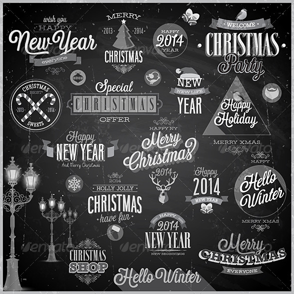 Christmas Set of Labels and Emblems on Chalkboard - Christmas Seasons/Holidays