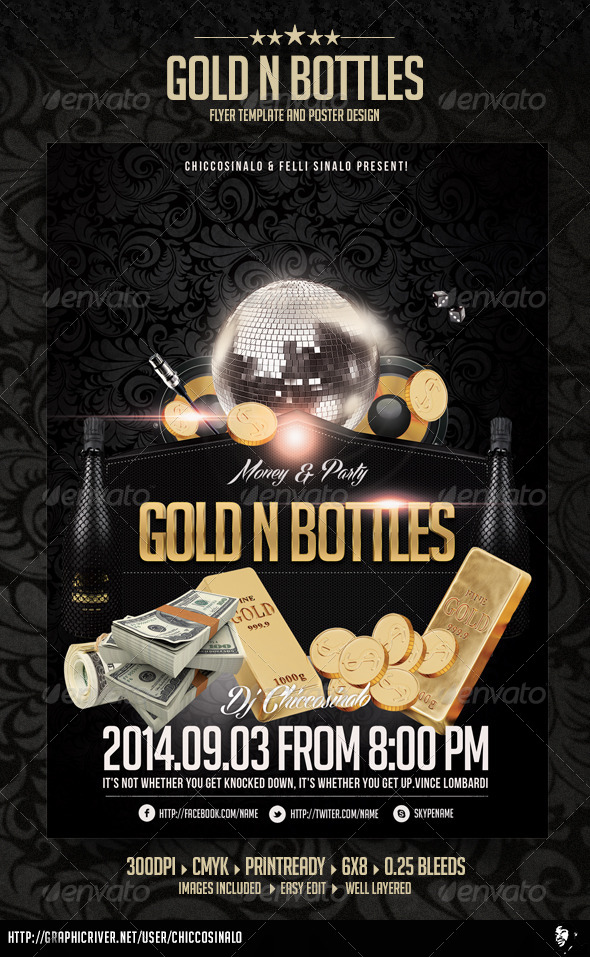 Gold n Bottles Flyer Template - Clubs & Parties Events
