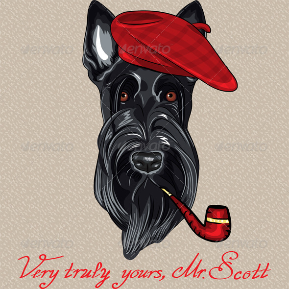 Vector Hipster Dog Scottish Terrier - Animals Characters