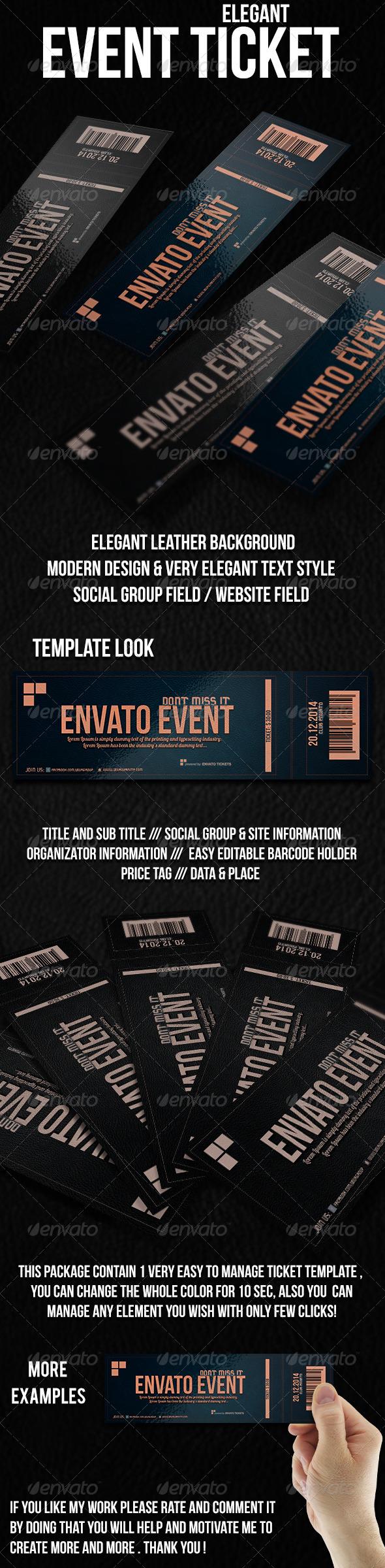 Elegant Ticket Template - Cards & Invites Print Templates