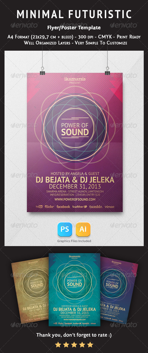 Minimal Futuristic Flyer Template - Clubs & Parties Events
