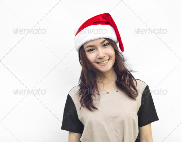 Christmas woman smiling - Stock Photo - Images