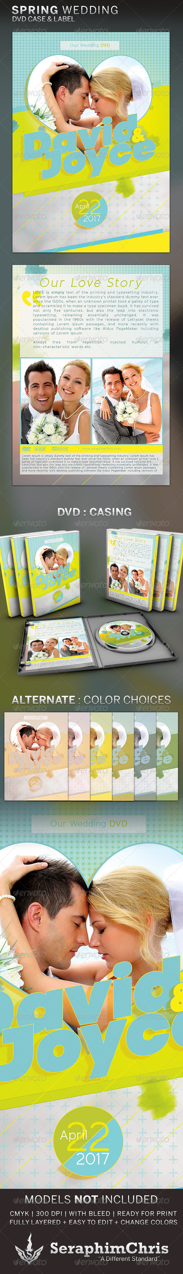 Spring Wedding DVD Template - CD & DVD Artwork Print Templates