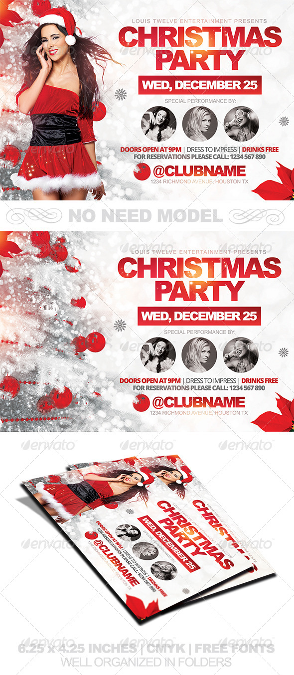 Christmas Party Horizontal Flyer Template
