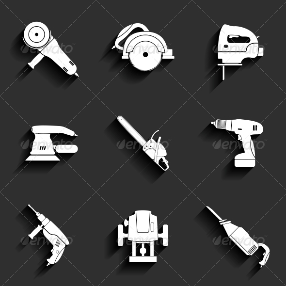 Electric Tool Flat Icons Set - Man-made Objects Objects