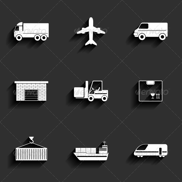 Vehicle and Transport Flat Icons - Man-made Objects Objects