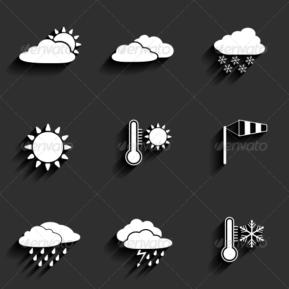 Flat Design Style Weather Icons Set - Seasons Nature