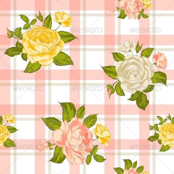 Seamless Pattern with Roses. - Flowers & Plants Nature