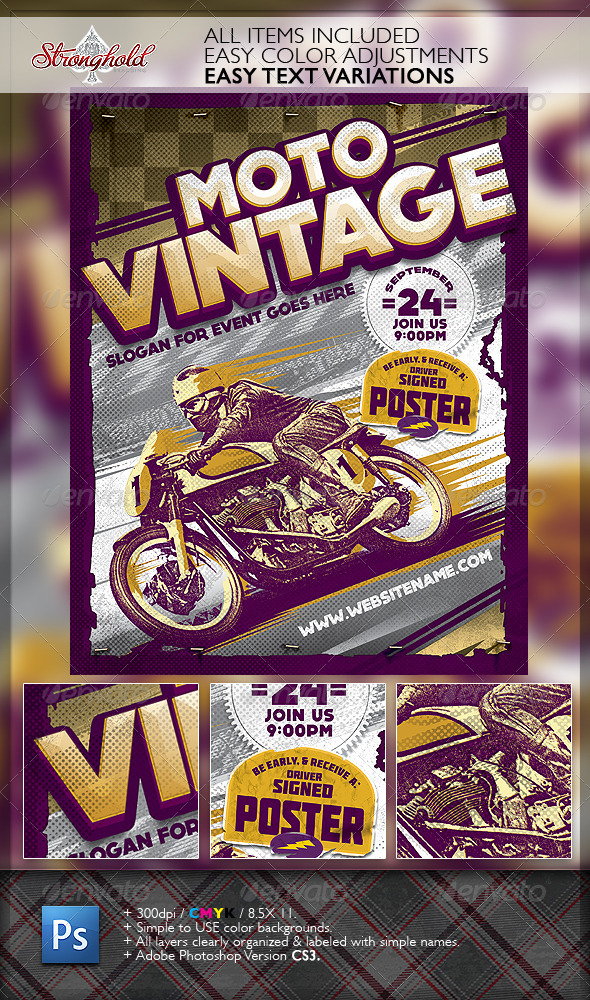 vintage motorcycle race poster template by getstronghold