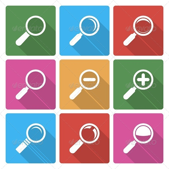 Magnifier Glass Icons with Shadow - Web Icons