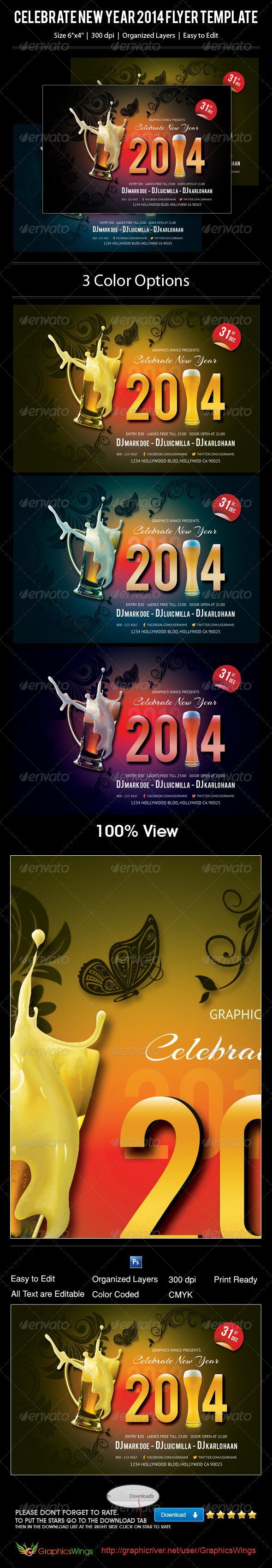 Celebrate New Year 2014 Flyer Template - Events Flyers