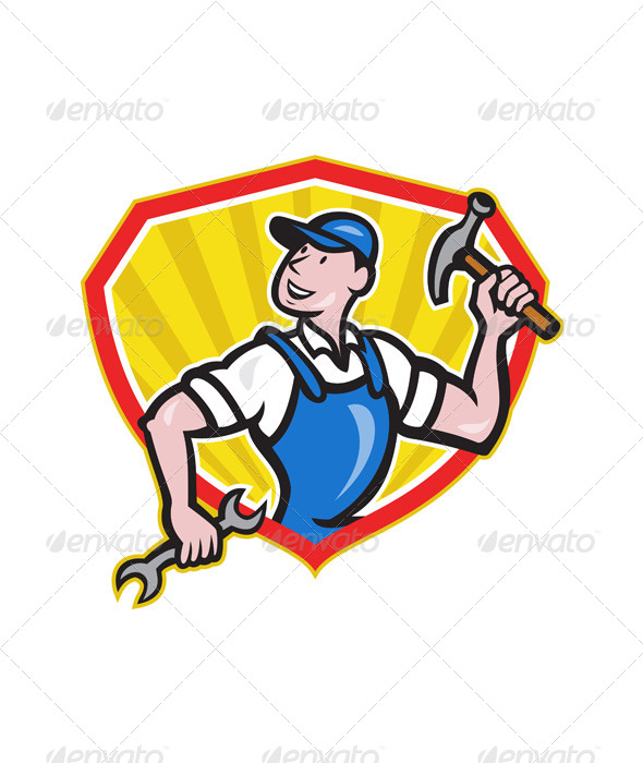 Carpenter Builder Hammer Spanner Cartoon - People Characters
