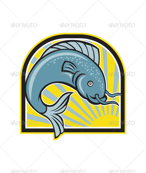 Catfish Jumping Sunburst Cartoon - Animals Characters