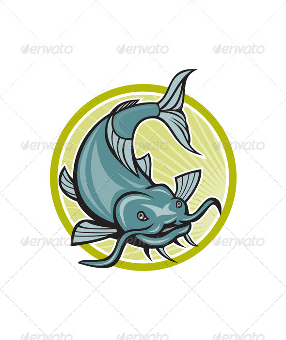 Catfish Attacking Circle Cartoon - Animals Characters